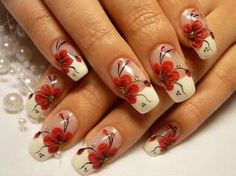 French Manicure with Red Floral Motif