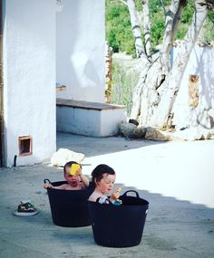 Feeling hot hot hot first outdoor bath of the year today!  #familytravel #Spain #expat #ecolife