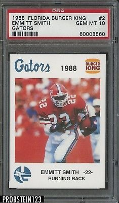 1988 Florida Burger Kings Gators  2 Emmitt Smith RC Rookie HOF PSA 10  PSA10 1397708f7