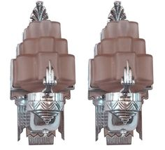 Art Deco Sculptural Aluminum and Pink Glass Sconces