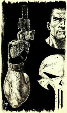 The Punisher - Heubert Khan Michael Comic Book Characters, Marvel Characters, Comic Character, Comic Books Art, Comic Art, The Punisher, Punisher Comics, Punisher Logo, Arte Dc Comics