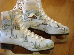 Hand painted skates .. custom order.