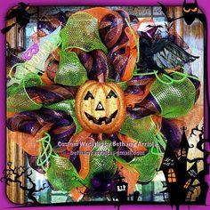 Halloween pumpkin, crow, and bat deco mesh wreath for front door decor. Custom Wreaths by Bethany Arriola 2013