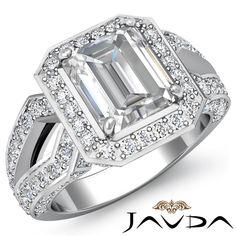 Vinatge Emerald Cut Diamond Halo Engagement Ring EGL G SI1 14k White Gold 2 4ct   eBay
