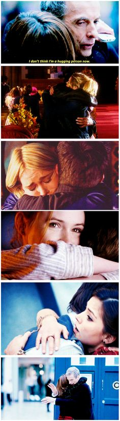 """The Doctor: I don't think that I'm a hugging person now. Clara: I'm not sure you get a vote."" ...and this is how their relationship is gonna be, I think, summed up in one sentence......[gifset] hugging #DoctorWho"