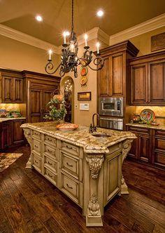 Interior design for kitchen cabinets, surface materials, flooring, lighting, cabinetry & backspash