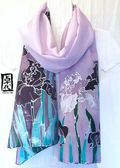 Hand Painted Luxury Lavender Irises Silk Scarf