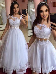 White Cap Sleeve Tulle Appliques Prom Dress, Two Piece Prom Dresses Cheap Bridal Dresses, A Line Prom Dresses, Tulle Prom Dress, White Wedding Dresses, Tulle Lace, Quinceanera Dresses, Cute Dresses, Lace Dress, Evening Dresses