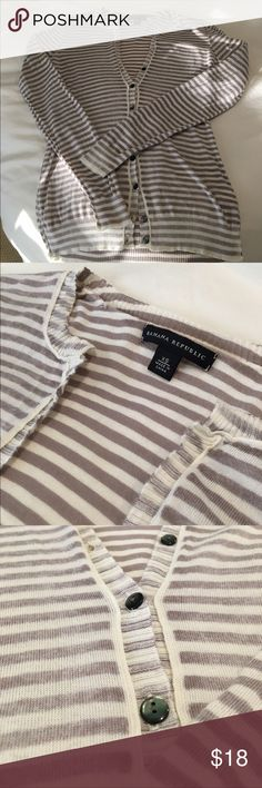 Banana Republic Striped Cardigan Excellent condition taupe and cream striped CS Banana Republic cardigan. Lightweight for Spring and Summer! Beautiful buttons and raw seams make this a unique cardi. Constructed inside out with a slight faded look. Really cute for work or with a pair of dark jeans! Banana Republic Sweaters Cardigans