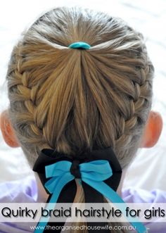Quirky braid hairstyle for girls + step by step instructions : The Organised Housewife : Ideas for organising and Cleaning your home Easy Hairstyles For School, Little Girl Hairstyles, Trendy Hairstyles, Braided Hairstyles, Quick Braids, Gymnastics Hair, My Hairstyle, Hair Dos, New Hair