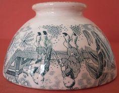Antique Majolica little Bowl signed Keramis Very rare Chinese decor