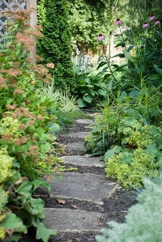 This is an inspiration for a small garden with a design in mind and a destination.