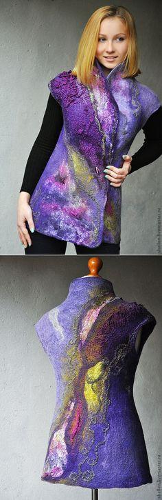 Купить Жилет 'Galaxy' - фиолетовый, жилет, Валяние, валяный жилет, сиреневый, сиреневый цвет, гиацинт
