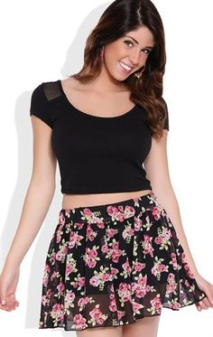 Deb Shops Short Sleeve Crop Top with Mesh Shoulders and Back $6.75