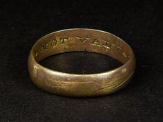 WONDERFUL RARE ANTIQUE SCOTTISH SILVER WEDDING POSY RING 'NOT VALUE BUT VIRTUE'