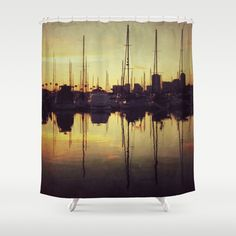 Marina Bay Lines Shower Curtain by RichCaspian - $68.00 #shower #curtain #bathroom #bathtub #homedecor #showercurtain #ocean #marina #nature #photography #boats #sunset #brown #bronze #amber #reflections