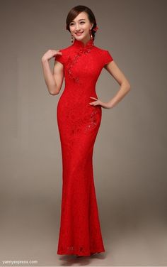Nice Chinese Wedding Dress Lace Bridal Cheongsam Banquet Reception