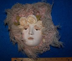 Ceramic-Clay-Mask-Deloris-Hand-Painted-Matte-Silk-Feathers-Lace-Classy-Nice.jpg (400×343)