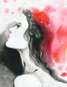 Watercolor Fashion Illustration titled: Paris Red