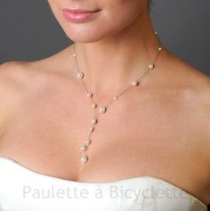 Collier mariage Sybélia, perles blanc-ivoire