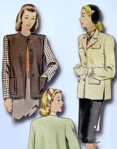 1940s Vintage McCall Sewing Pattern 6374 Uncut Misses Boxy Jacket Size 14 32 B