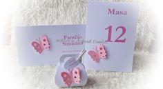 Botez tematic - fluturi roz Baby Shower Invitations, Place Cards, Place Card Holders, Shower Invitation