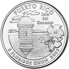 """The Puerto Rico Quarter honors the U. Territory of Puerto Rico. It depicts a sentry box on one of San Juans great walls of stone, a hibiscus flower and the inscription """"""""ISLA DEL ENCANTO"""""""" (Isle of Enchantment). Puerto Rico State, Puerto Rico Food, Puerto Rico History, Puerto Rican Culture, State Quarters, Coin Auctions, Coloring Pages Inspirational, American Coins, Puerto Rican Recipes"""