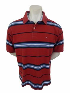 Tommy Hilfiger Polo Shirt Size XL Red Striped Cotton #TommyHilfiger #PoloRugby