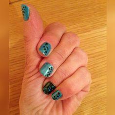 nails desing shellac blue and black