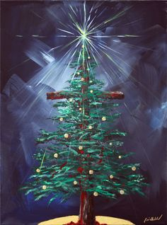 Christmas tree painting on canvas with a cross in background Noel Christmas, Christmas Projects, Simple Christmas, Christmas Tree Cross, Jesus Born Christmas, Cross Tree, Christmas Paintings On Canvas, Christmas Tree Painting, Winter Painting