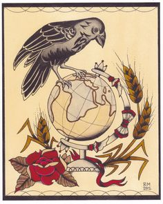 Raven Globe Tattoo Flash print by underhiswing on Etsy.