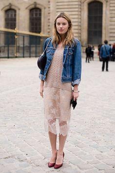 sheer skirt + denim jacket.