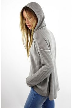 Jersey fino con capucha, Jersey gris, gray, capucha, sudadera, punto, sweater, jumper, System Action, shop online, lookbook, model, street Style, SS2015, PV2015, new