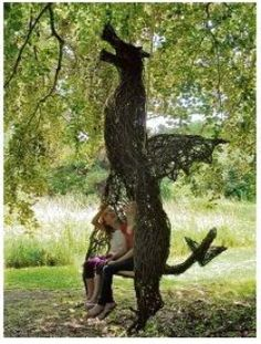 Willow Willow #sculpture by #sculptor Sophie Courtiour titled: 'The Dragon Swing' #art