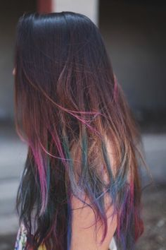 dark brown hair with dips of pink, turquoise and purple