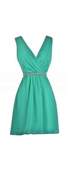 Lily Boutique Delicate Balance Pearl Embellished Dress in Jade, $40 Jade Chiffon Embellished Dress, Jade Green Bridesmaid Dress, Cute Green A-Line Dress www.lilyboutique.com