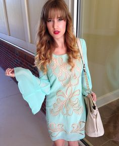 Teal Belle Sleeve Dress #swoonboutique