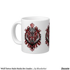 #Wolf #Tattoo #Style #Haida #Art Cool Jumbo #Mug - NEW #Design by #BluedarkArt at #Zazzle  http://www.zazzle.com/wolf_tattoo_style_haida_art_jumbo_mug-183130647664010551