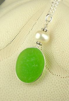 GENUINE Lime Green Sea Glass Jewelry Wire Wrapped ... | Seaglass