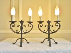 SUPERB VINTAGE FRENCH WROUGHT IRON TABLE LAMPS GOTHIC CHATEAU MEDIEVAL LIGHTS