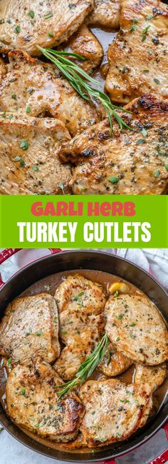 {NEW} Garlic + Herb Turkey Cutlets What are your Easter weekend meal plans? Turkey Cutlet Recipes, Cutlets Recipes, Turkey Recipes, Turkey Chops, Turkey Cutlets, Healthy Dishes, Healthy Recipes, Healthy Eats, Dash Diet Recipes