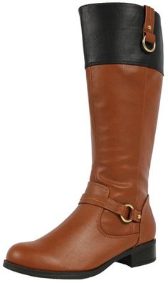 Tan and Black Faux Leather Two Tone Buckle Knee High Riding Boot Sam Tan/Blk $38.99 #sexy #boots #fall #fashion