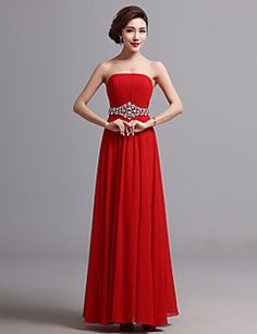 A-line Strapless Floor-length Chiffon Evening Dress (X028)