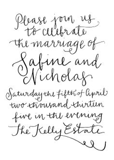 digital calligraphy wedding invitation