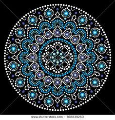 Mandala vector art, Australian dot painting white and blue design, Aboriginal folk art bohemian style. Mandalas doted background inspired by traditional art from Australia, boho decoration