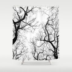 Black And White Tree Top Silhouettes. Bathroom Shower Curtain by Belkat - by Tree Curtains, Tree Shower Curtains, Black Curtains, Bathroom Shower Curtains, Black White Shower Curtain, Black And White Tree, White Sky, Tree Silhouette, Tree Tops