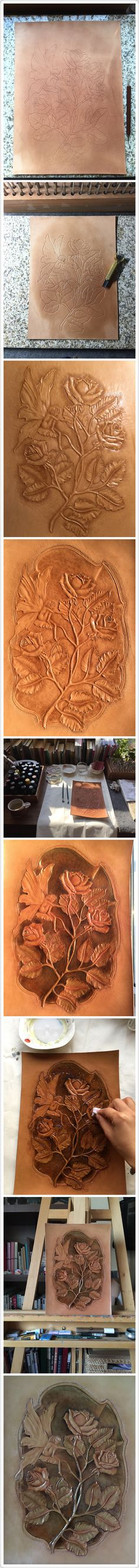 The procedure of rose garden carving #leather #leather carving