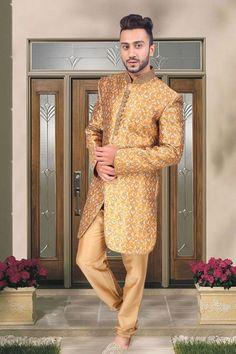 #Gold jamavar indo western #sherwani in gold pants-IW105