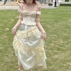[Premium Selected] 100% Handmade Luna Bunny Cottage Dream Fairy Lace Corset set (Designer Arilf)   Peiliee Shop Lace Corset, Lace Dress, Make Time, Hand Sewing, The Selection, Designer Dresses, Bones, High Waist, Fairy