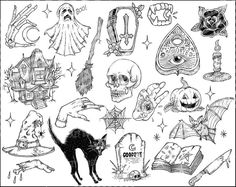 Spooky Tattoo Designs for the Season - lilostyle Tattoo Main, Kritzelei Tattoo, Doodle Tattoo, Body Art Tattoos, Sleeve Tattoos, Tatoos, Halloween Tattoo Flash, Halloween Drawings, Halloween Clipart